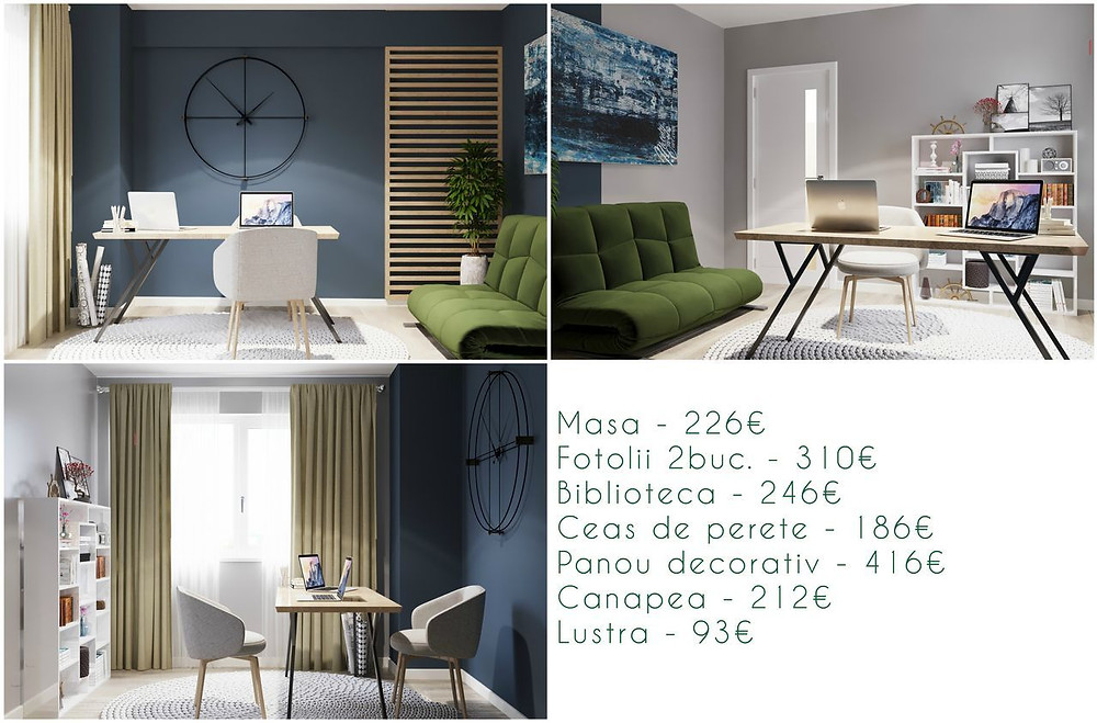 Preț design interior cabinet, birou