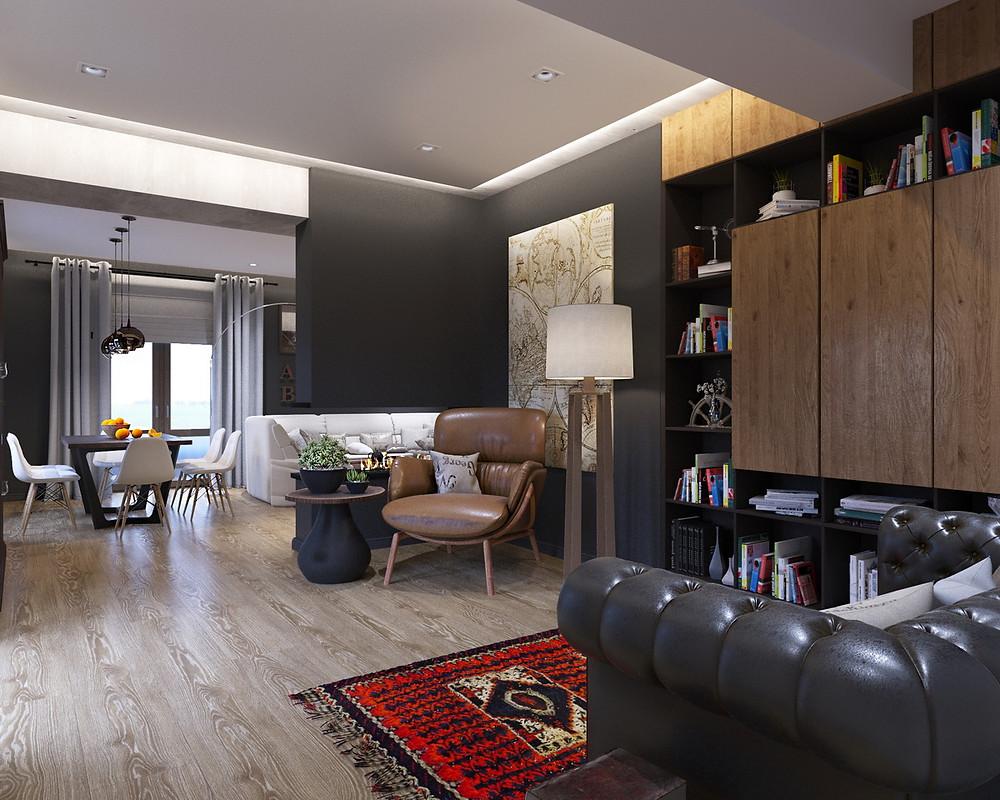 Culorile în designul interior, negru, alb, maro