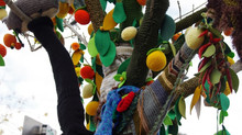 Getting ready to transform street with inspirational yarn art