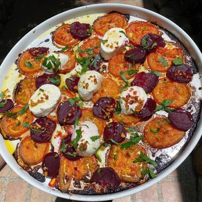 Grilled Tomatoes with Aromatic Chilli oil, beetroot and Fresh Mozarella