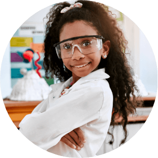 Elementary girl in stem class as a future engineer funded by donations