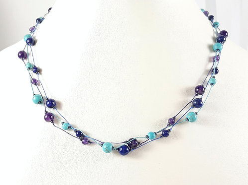 Intuition Triple Strand Knotted Necklace