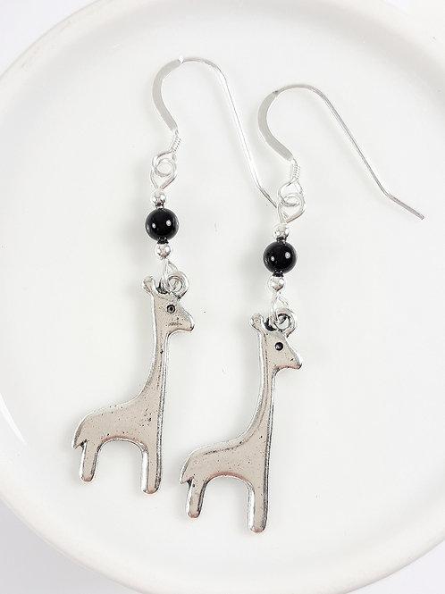 Giraffe Charm Earrings with Black Agate