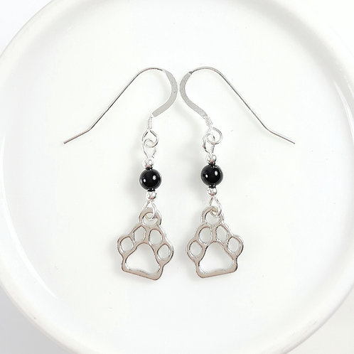 Paw Earrings with Black Agate