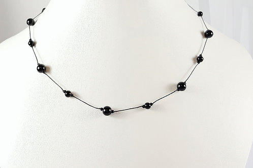 Black Agate Knotted Necklace