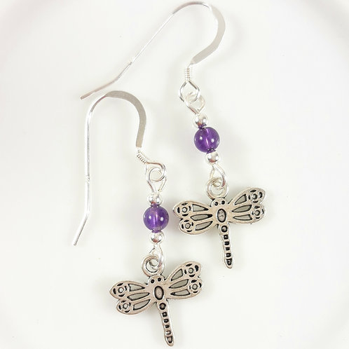 Dragonfly Charm Earrings with Amethyst