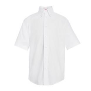 White Button-Down Short Sleeve Oxford Shirt