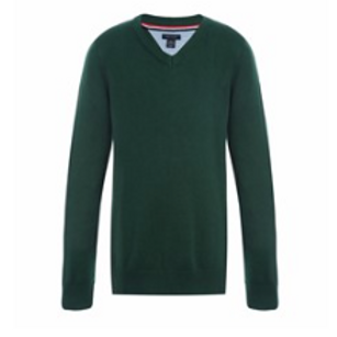 Long Sleeve Green V-neck Pullover Sweater