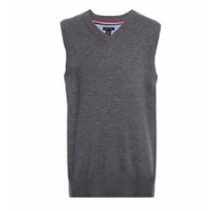 Sleeveless Grey V-neck Pullover Sweater