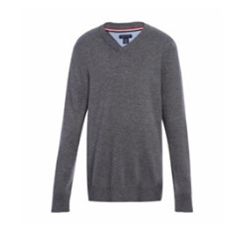 Long Sleeve Grey V-neck Pullover Sweater