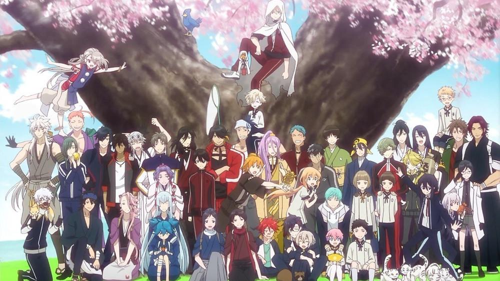 All members of the Touken Ranbu Hanamaru cast under a cherry tree.