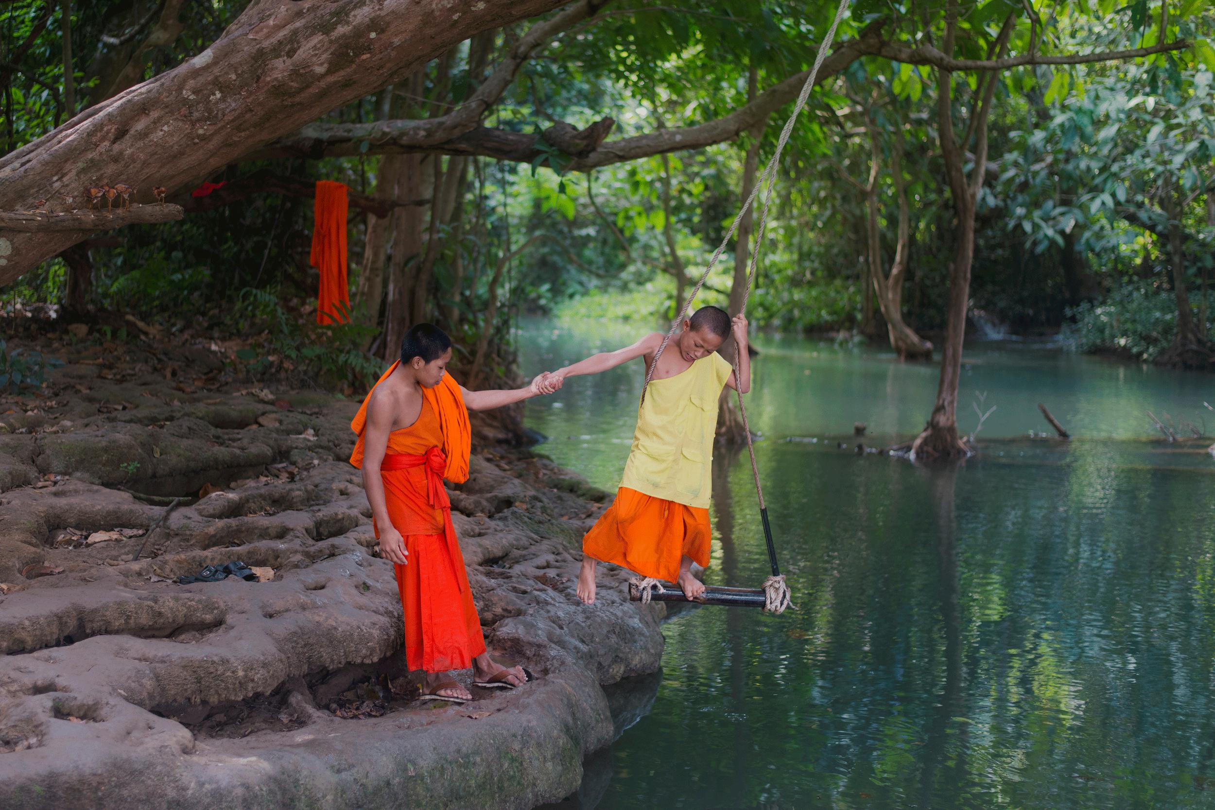 Monks at Kuang Si Waterfall