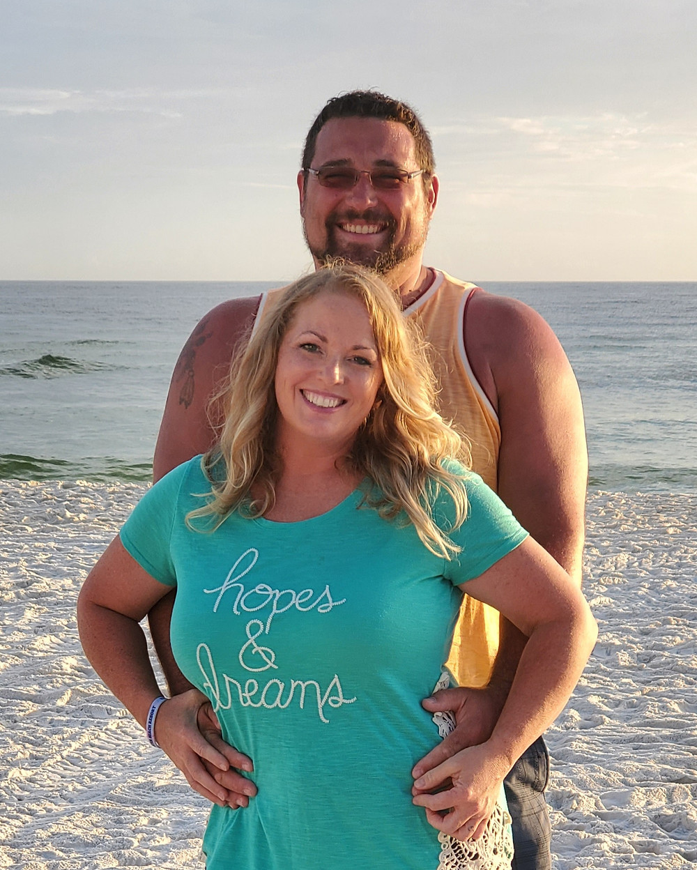 Picture of Eric and Tanya on the beach.