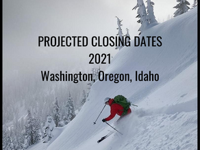 When are ski areas closing? Washington, Oregon, Idaho.