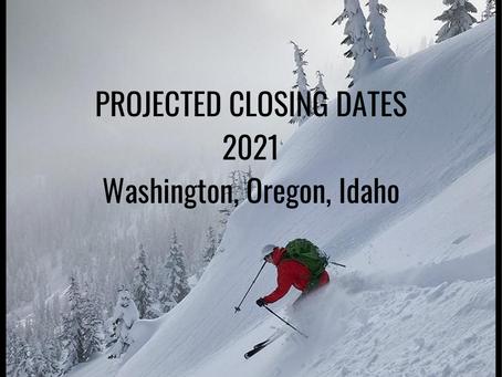 When are ski areas closing? Washington, Oregon, Idaho.