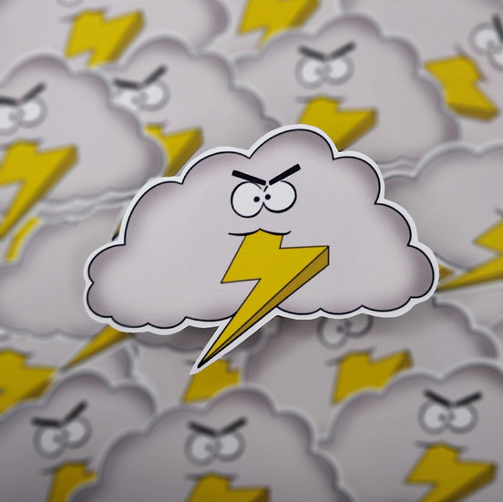 Lightening Rod Cloud Guy Vinyl Sticker