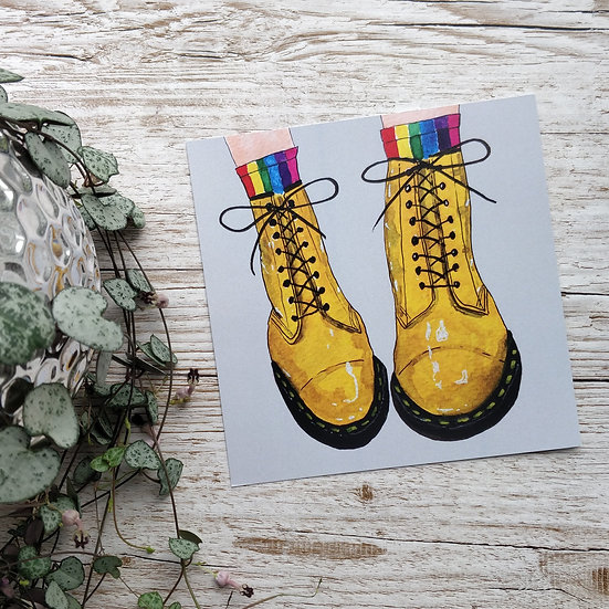 Illustrated Print Yellow Dr Martens Books
