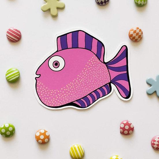 Pink Fish Fella Die Cut Vinyl Sticker