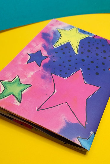 Mixed Media Star Wrapping Paper