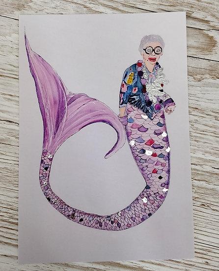 Iris Apfel A5 Art Mermaid Print