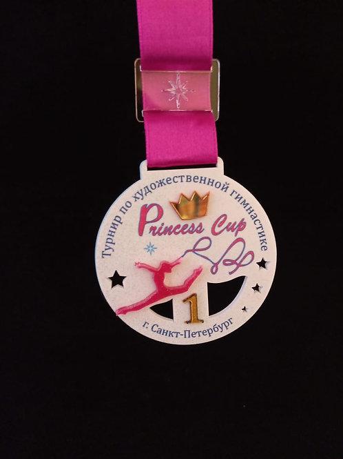 """Медаль """"Принцесса"""" с лентой и нанесением  вашего текста"""