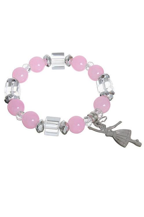 """Браслет жемчуг """"Бусинка"""" балерина, цвет розово-белый в серебре"""