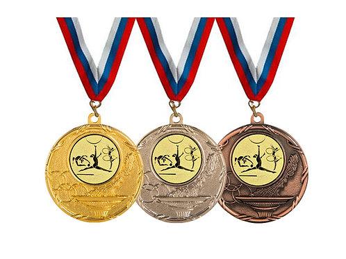 """Медаль 075, d-50мм, цвет бронзы, с лентой, с эмбл.""""Худож.гимнастика"""""""