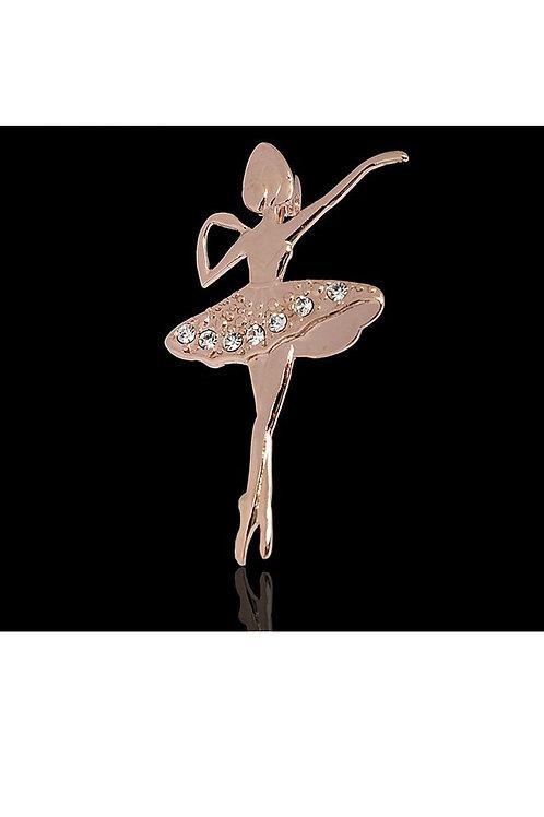 """Брошь """"Балеринка"""", позолота"""