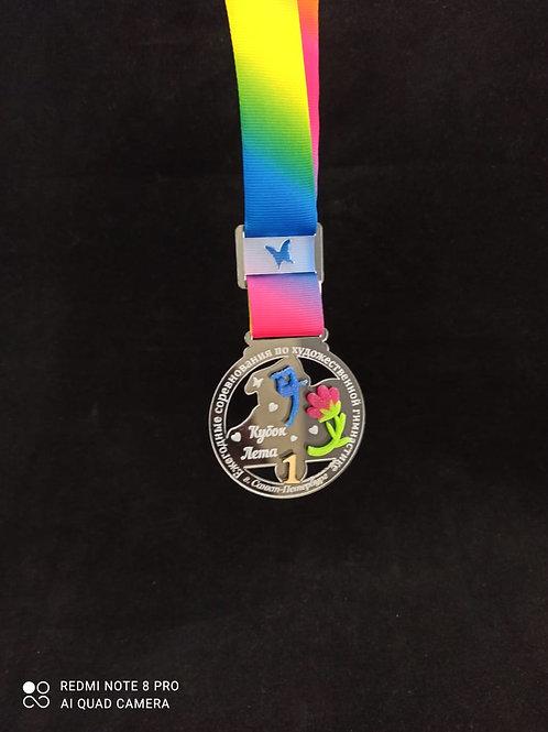 Медаль с лентой и нанесением текста