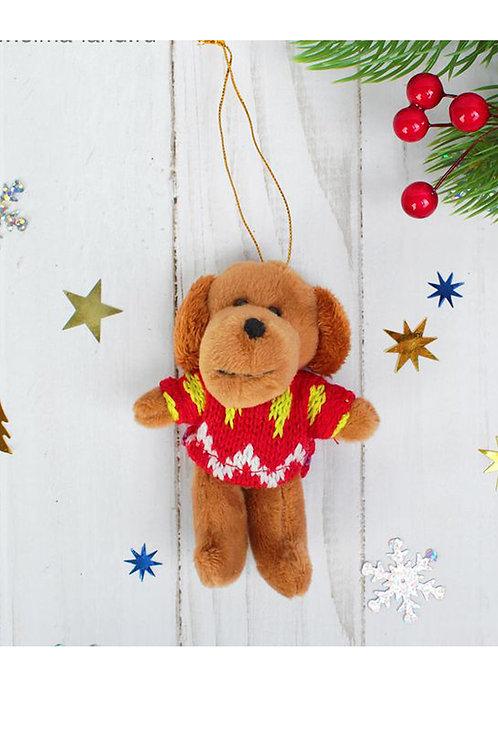 """""""Пёсик"""" 10 см мягка игрушка-подвеска  в кофточке, цвета МИКС"""