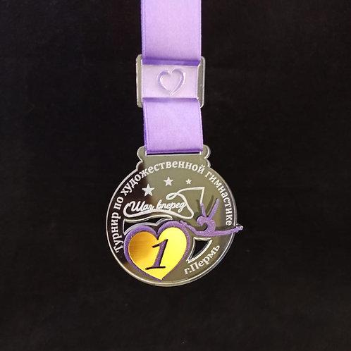 Медаль  72х68 мм с лентой и нанесением вашего текста