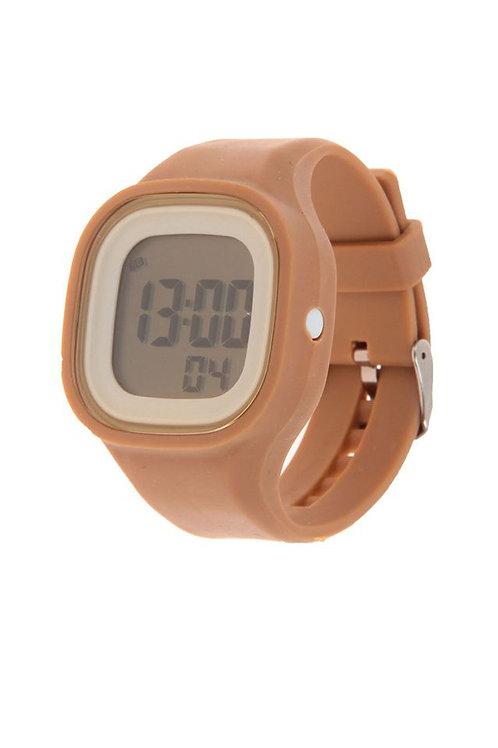 Часы наручные женские с подсветкой на силиконовом ремешке, цвет бежевый