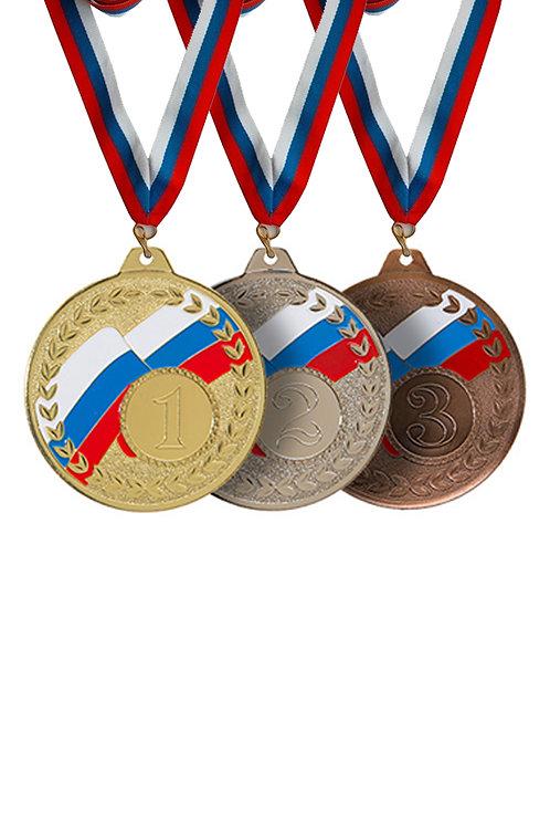 """Медаль 102 """"2 место"""", цвет серебра, d-70мм, с лентой"""