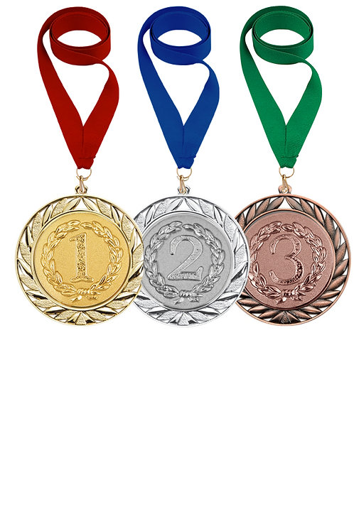 """Медаль """"2 место"""" 022а (d-7см), цвет серебра, с лентой"""