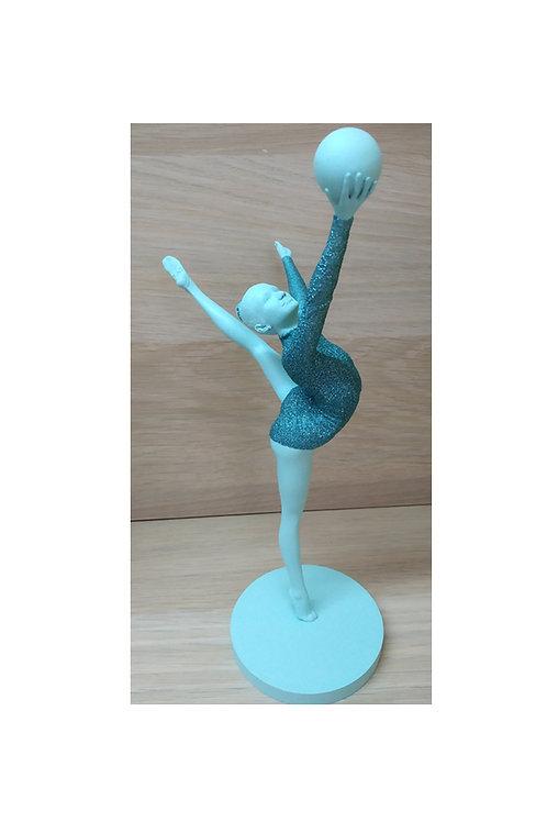 """Статуэтка """"Гимнстка с мячом"""", цвет бирюзовый, 22 см"""