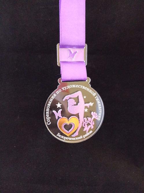 Медаль 72х65 мм с лентой и нанесением текста