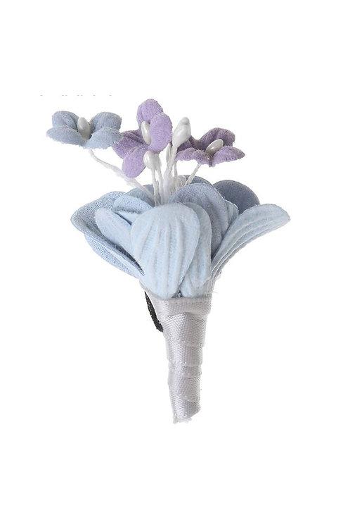 """Брошь """"Текстильный стиль"""", бутоньерка, цвет голубой"""