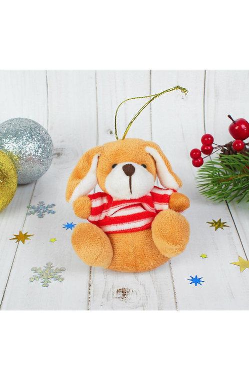 """""""Пёсик"""" 9 см мягка игрушка-подвеска , полосатая кофточка, цвета МИКС"""