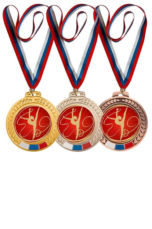 """Медаль 006, d-70мм, цвет золота, с лентой, с эмблемой """"Гимнастка с лентой"""""""
