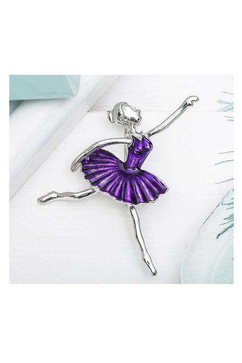 """Брошь """"Балерина"""" в танце, цвет фиолетовый в серебре"""