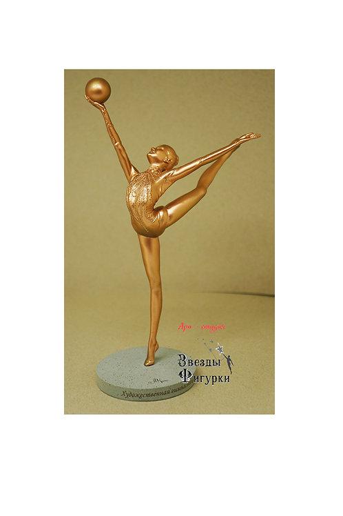 """Статуэтка """"Гимнастка с мячом"""", цвет бронзы, 22 см"""