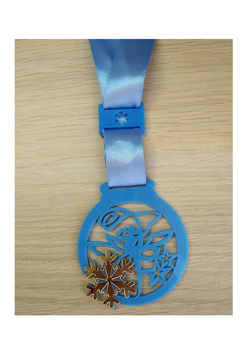 Медаль 65х74 мм, акрил, со снежинкой, без гравировки