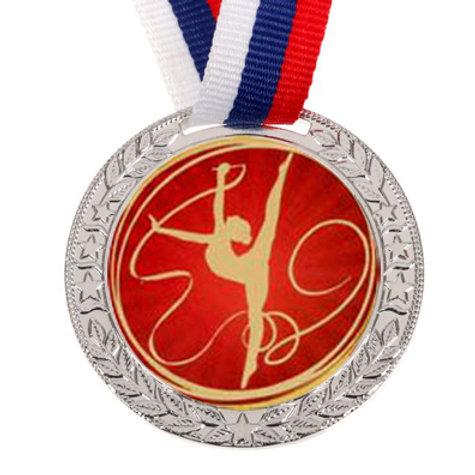 """Медаль с лентой, 50мм """"Художественная гимнастика"""" цвет серебро"""