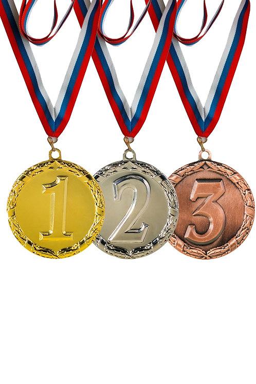 Медаль 005, d- 45 мм, 2 место, цвет серебро