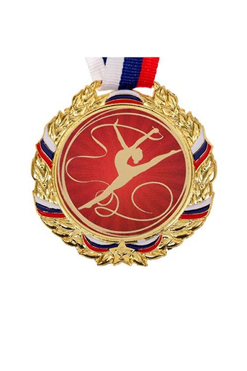 """Медаль с лентой """"Художественная гимнастика"""", 70см, цвет золото"""