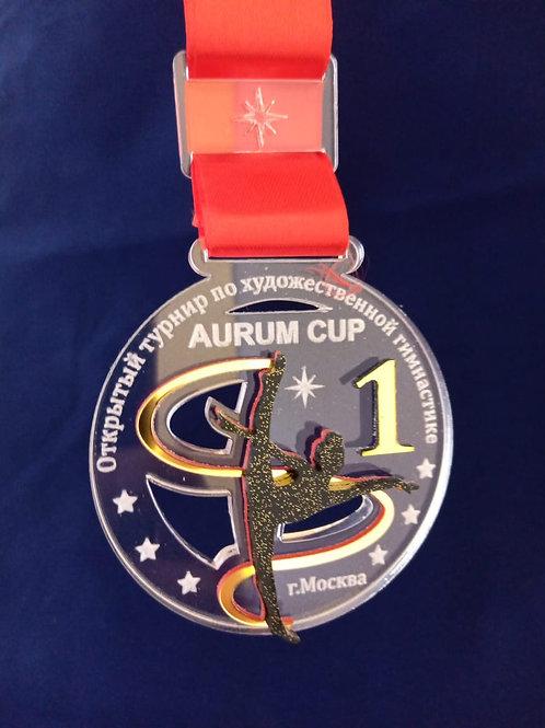 """Медаль """"Гимнастка с лентой"""" 70х74 мм, с лентой и нанесением текста"""
