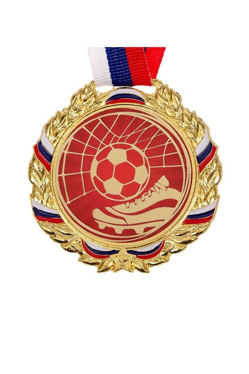 """Медаль с лентой """"Футбол"""", D-70мм, цвет золота"""