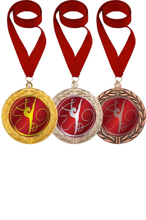 """Медаль 064, d-70мм, цвет золото, с лентой, с эмблемой """"Гимнастка с лентой"""""""