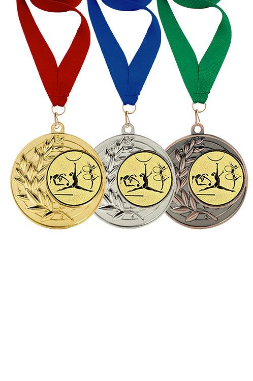 """Медаль 001, серебро, с лентой, с эмблемой """"Художественная гимнастика"""""""