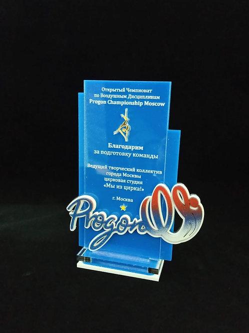 Награда с накладным логотипом